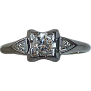 Art Deco 18k White Gold Diamond Ring c1930s