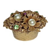 Florenza Bejeweled Gold Tone Metal Trinket Box