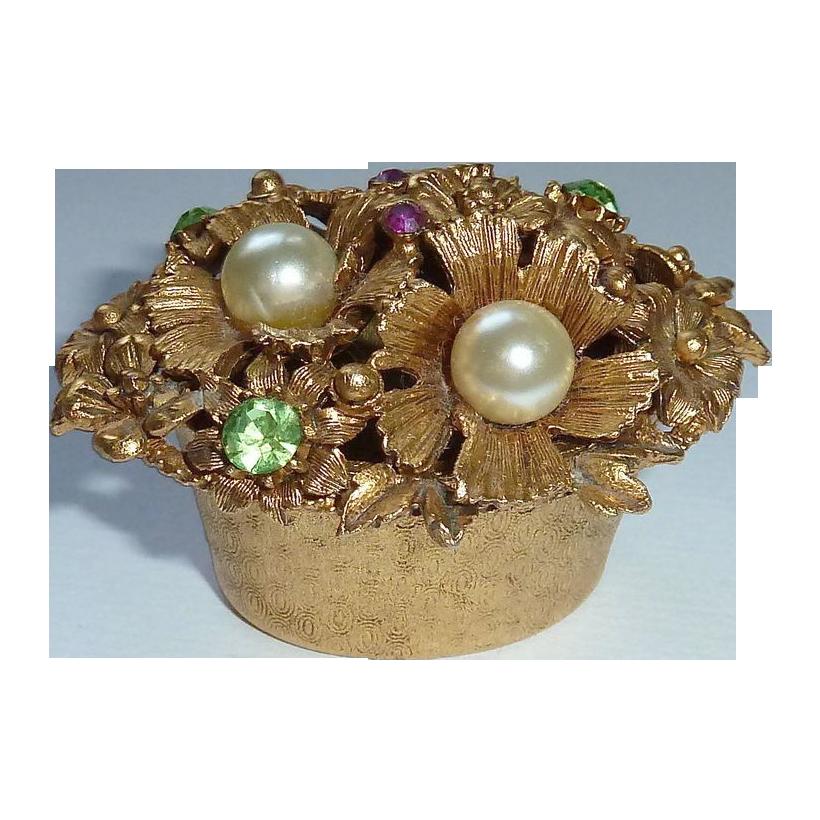 Florenza Bejeweled Gold Tone Metal Trinket Box