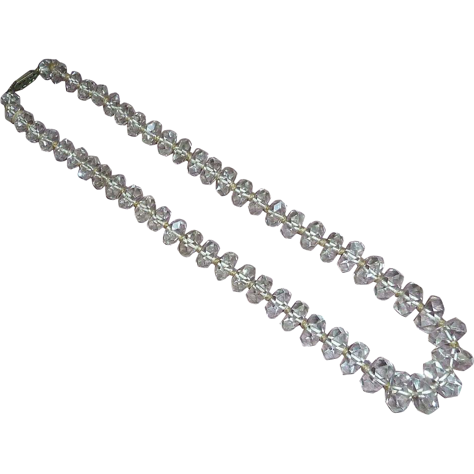 Art Deco Faceted Rock Crystal Graduated Bead Necklace