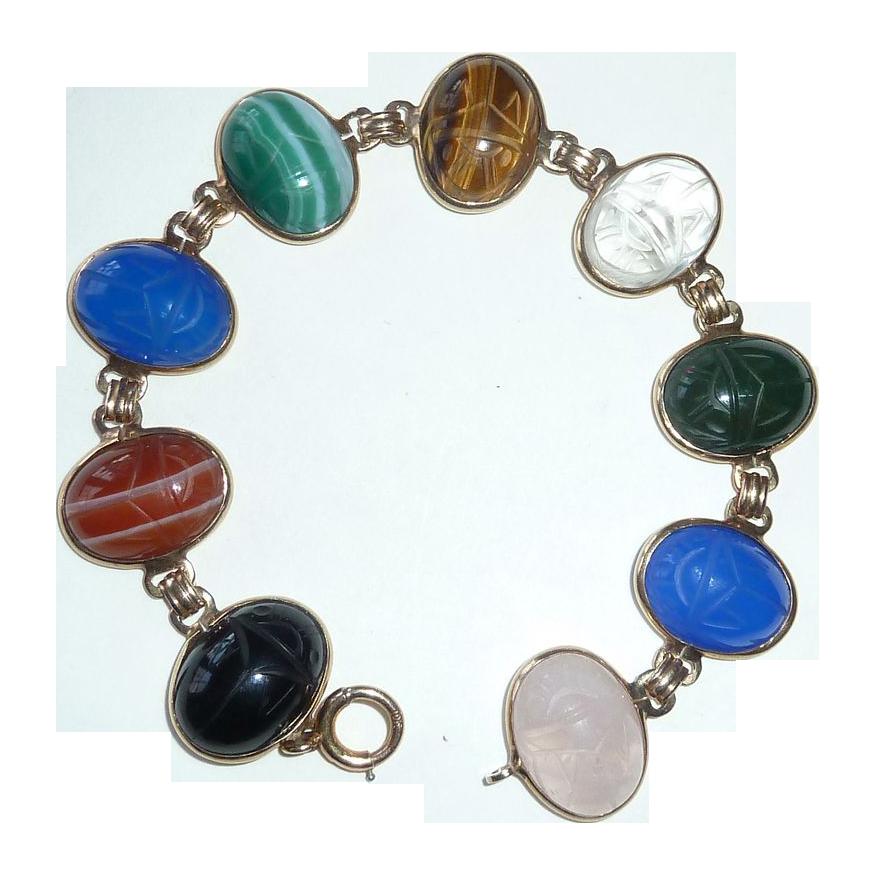 Egyptian Revival 10k Bracelet Gemstone Scarabs c1950s
