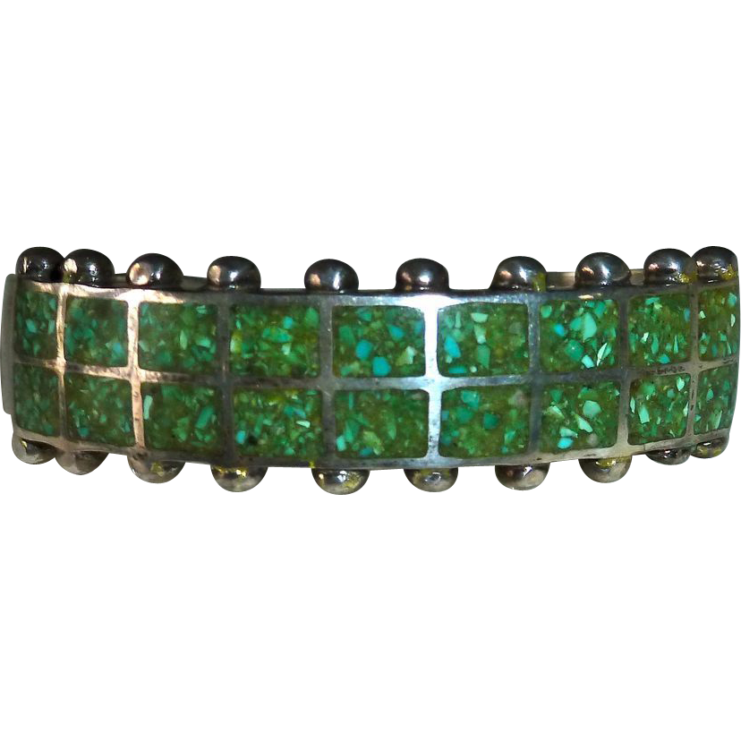 Native American Pawn Chip Inlay Turquoise Cuff Bracelet