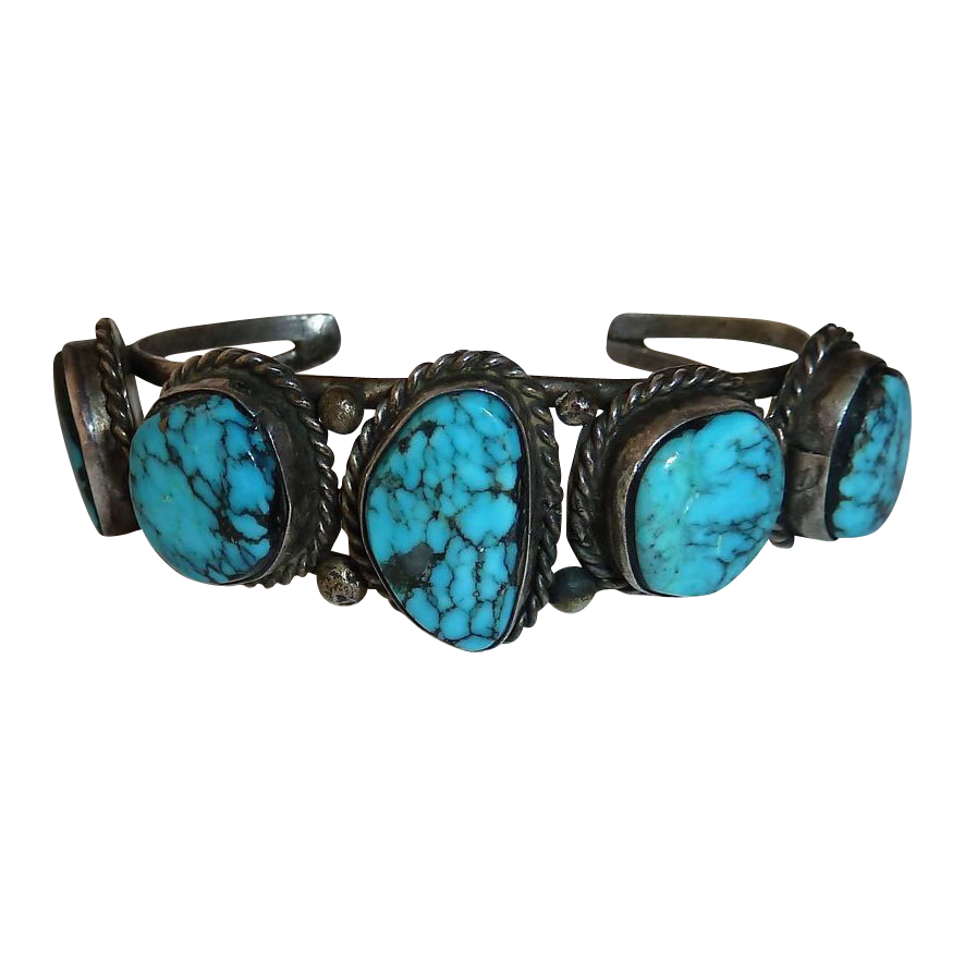 Native American Sterling 5 Turquoise Cuff Bracelet