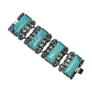 Wide Silver Tone Panel Bracelet Faux Turquoise Thermoset