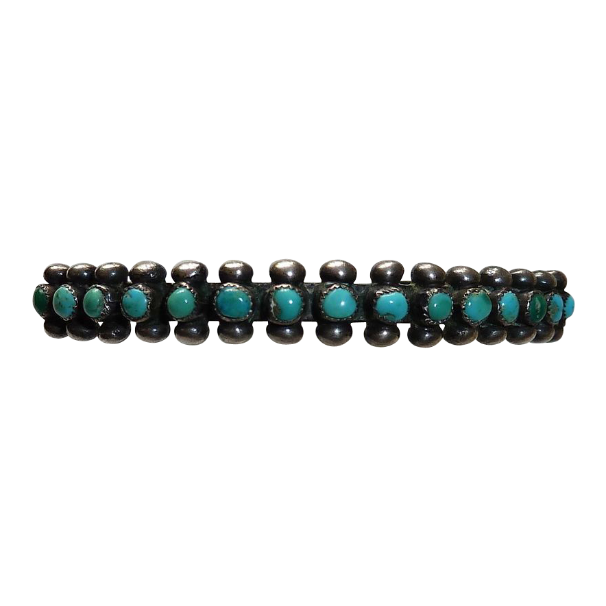 Native American Zuni Sterling Petit Point Turquoise Cuff Bracelet