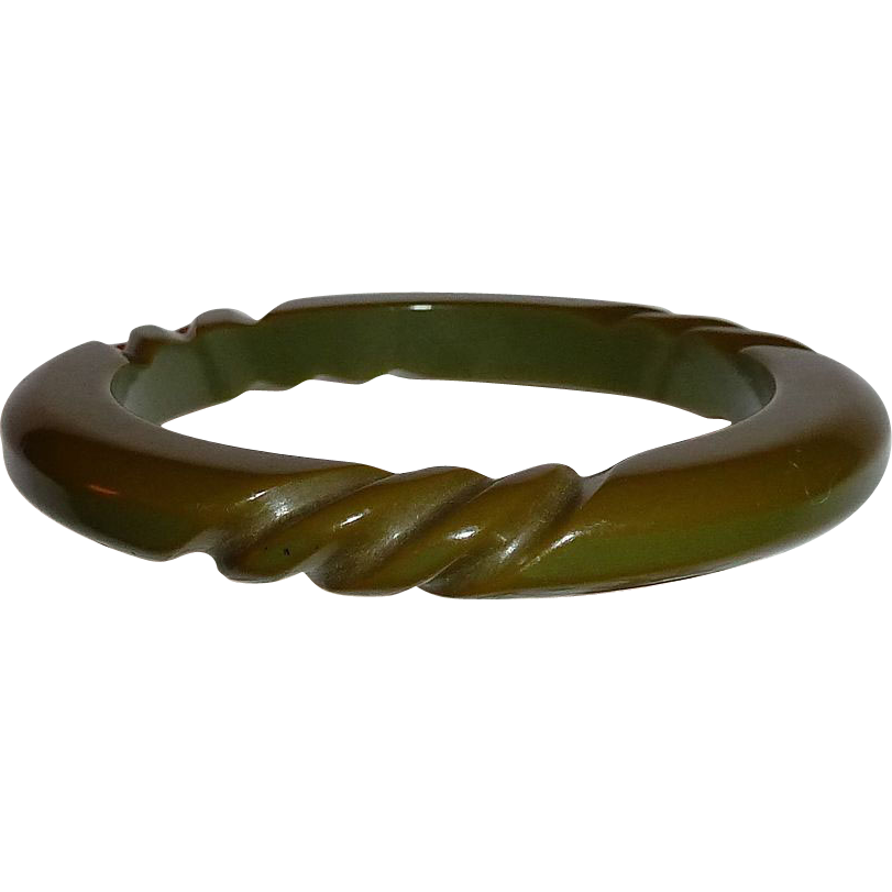 Bakelite Olive Green 3 Section Rope Twist Bracelet