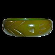 Olive Green Paw Print Carved Bakelite Bracelet
