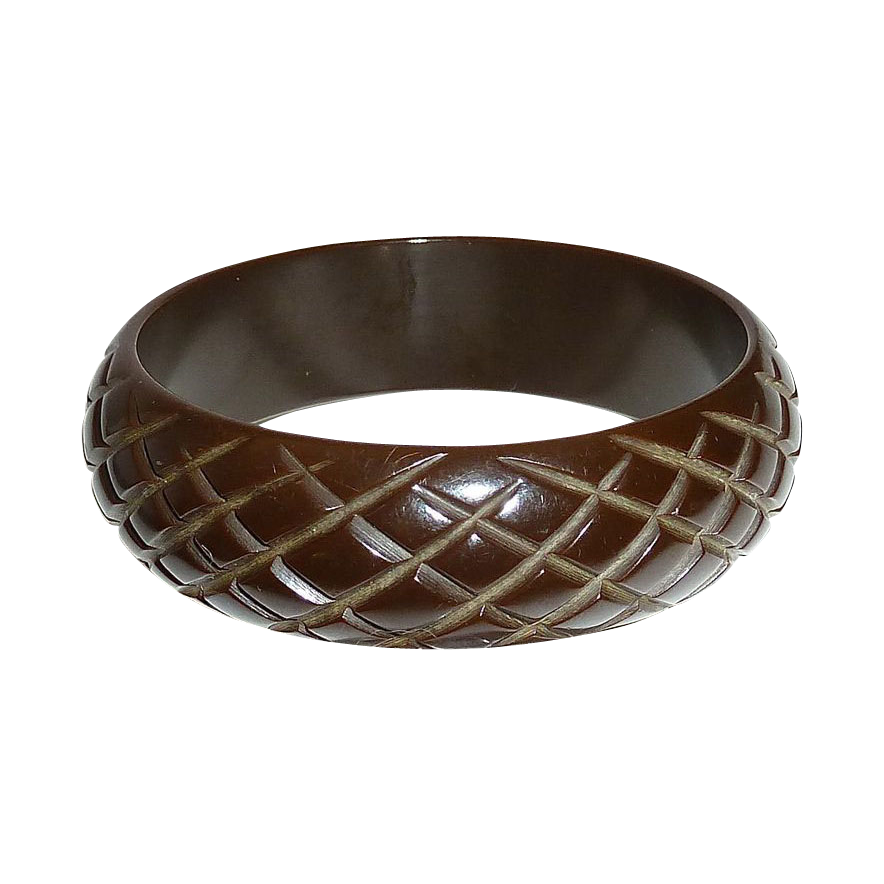 Dark Chocolate Wide Cross Check Bakelite Bracelet
