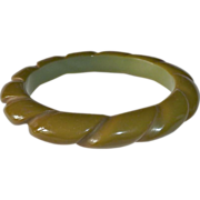 Olive Green Bakelite Rope Bangle Bracelet