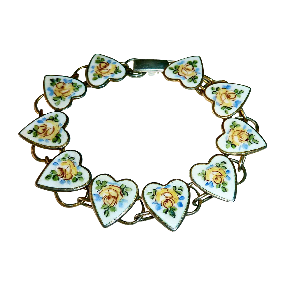 Sterling Bracelet Enamel Hearts & Yellow Roses