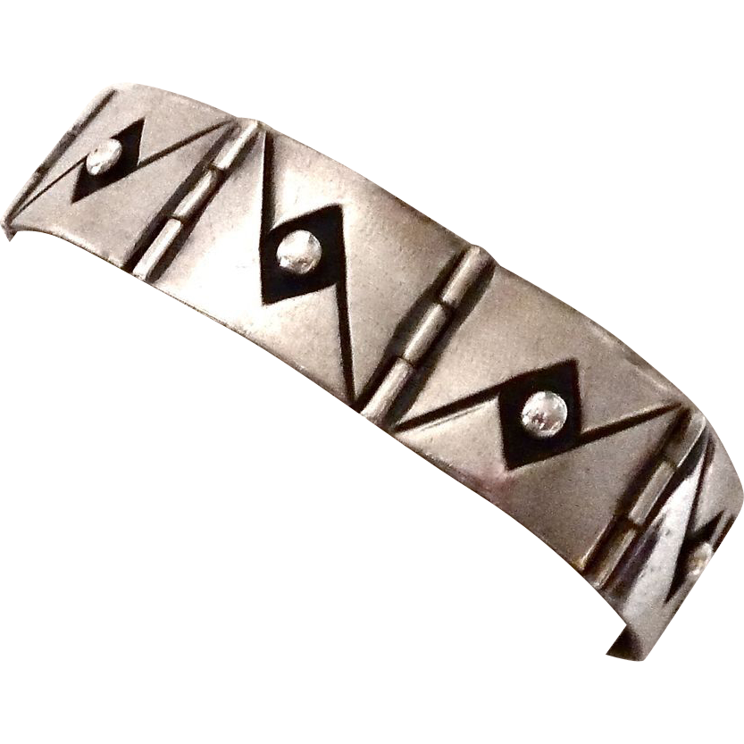 Mexican Designer Sterling Applique Bracelet