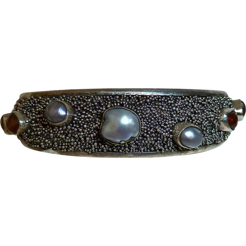 Modernist Sterling Cuff Bracelet Fresh Water Pearls