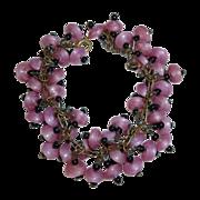 Pink Swirl Art Glass Bead Bracelet