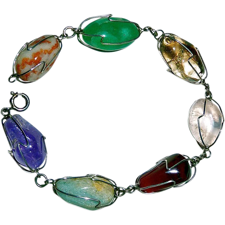 Sterling Wrapped Natural Polished Stone Bracelet