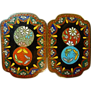 Japanese Cloisonne Two Piece Buckle Butterflies & Flowers
