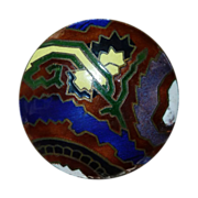 Art Deco Domed Brass Enamel Button