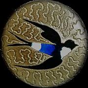 Victorian Brass & Enamel Bird Button
