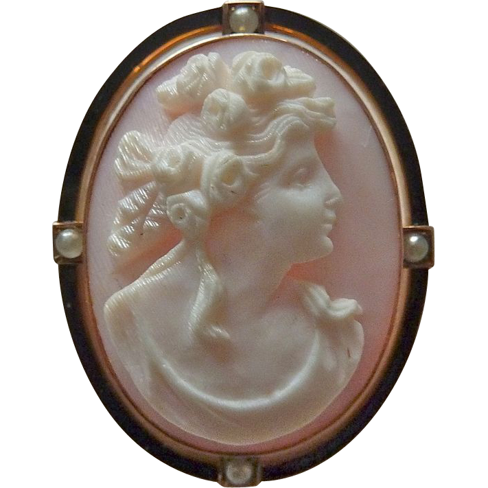 Antique 10k Rosalyn Shell Cameo Pin/ Pendant