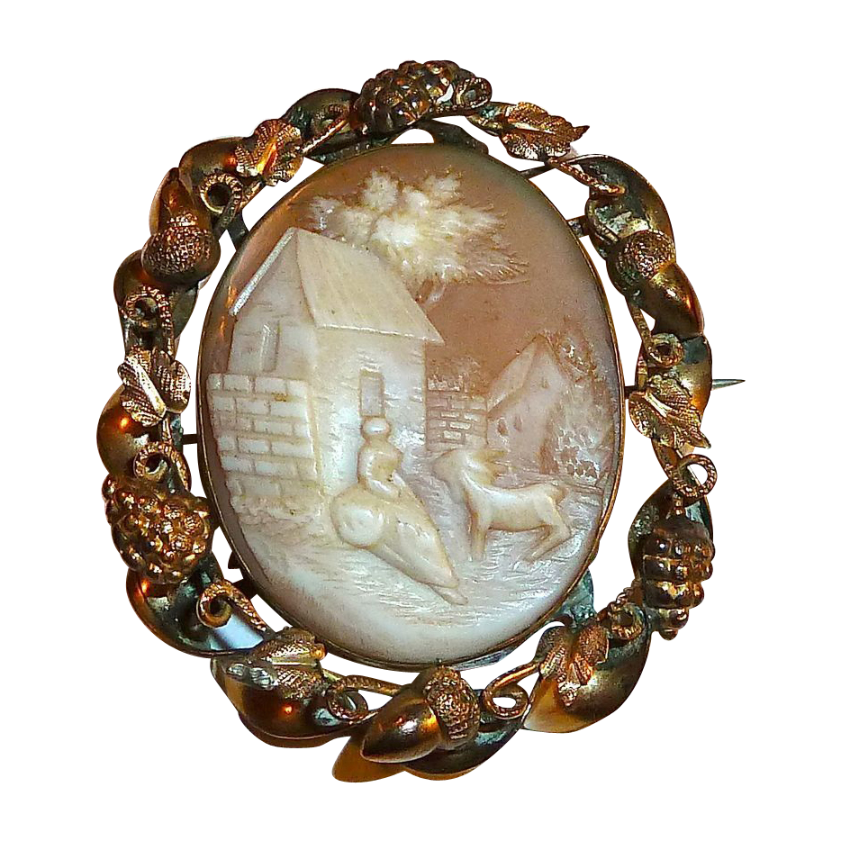 Rebecca at the Well Shell Cameo Ornate GF Frame