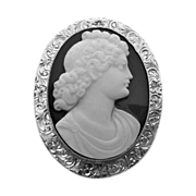 Edwardian 14k White Gold Black & White Stone Cameo