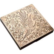 Aesthetic Sterling & Rose Gold Top Compact Engraved Bird & Floral