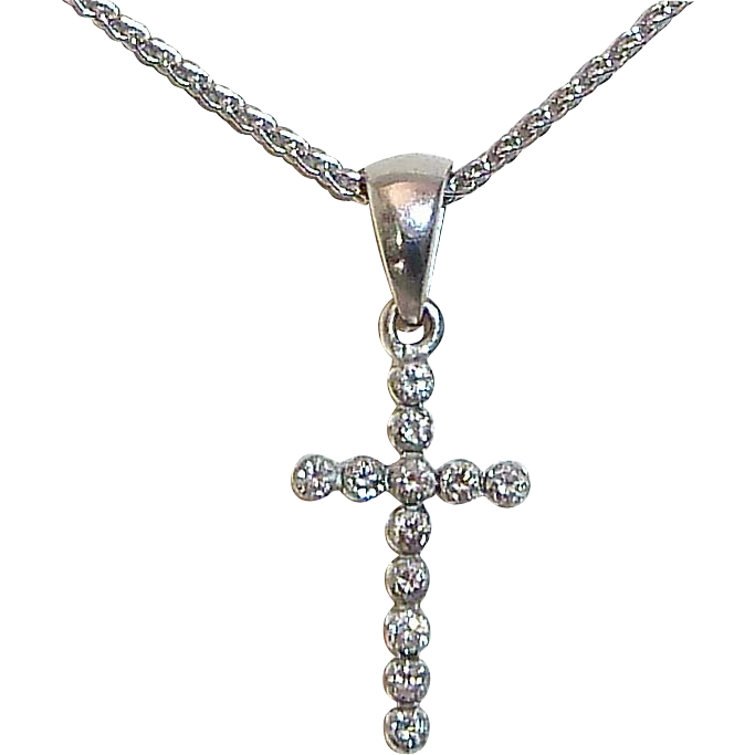 14k White Gold Sparkling Diamond Cross
