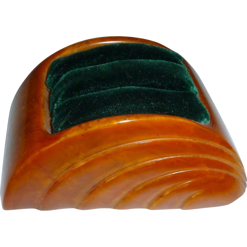 Art Deco Bakelite & Velvet Ring Display c1920s