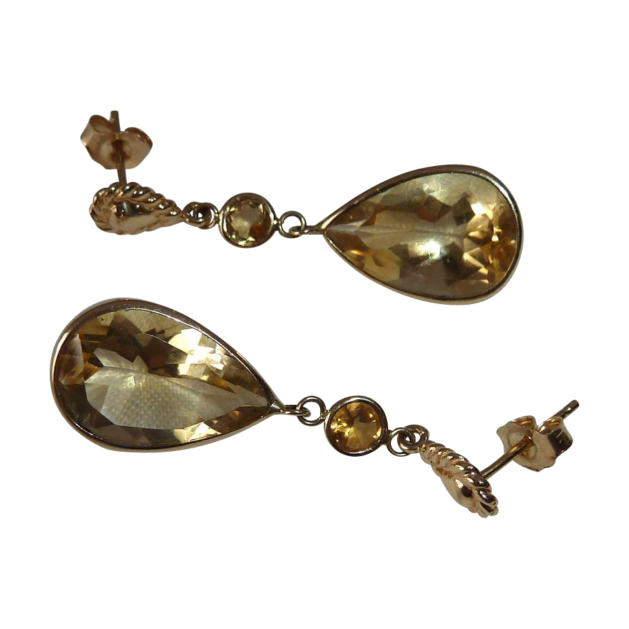 Citrine Teardrop 14k Yellow Gold Pierced Earrings