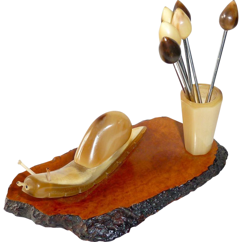Carved Horn Figural Snail Escargot Holder & Picks