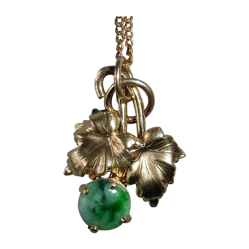 14k Yellow Gold Leafy Pendant & Chain w Jade