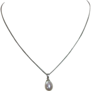 Lustrous Teardrop Pearl 18k White Gold Cap & Chain