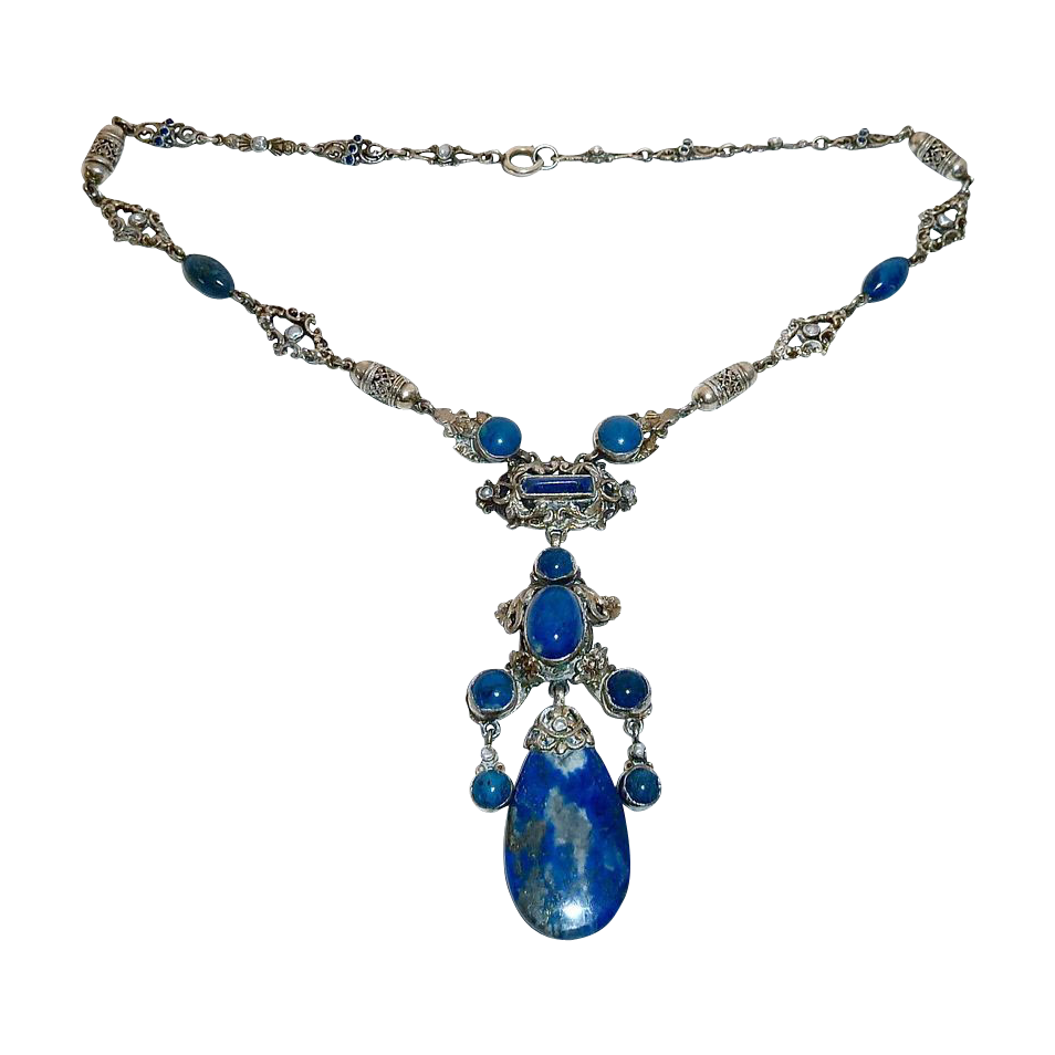 Austro-Hungarian 900 Silver Necklace w Lapis Seed Pearls Sapphires