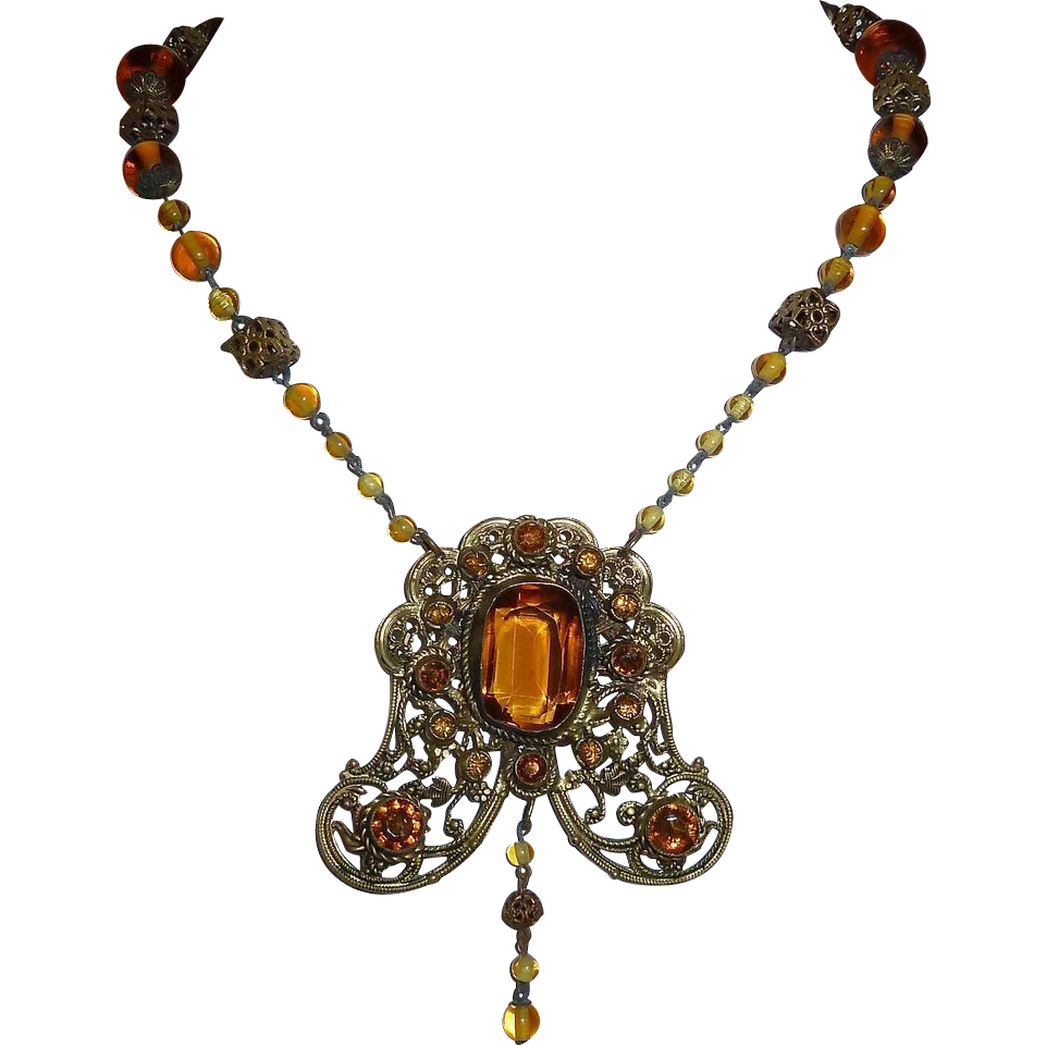 Ornate Victorian Amber Glass Jewel Necklace