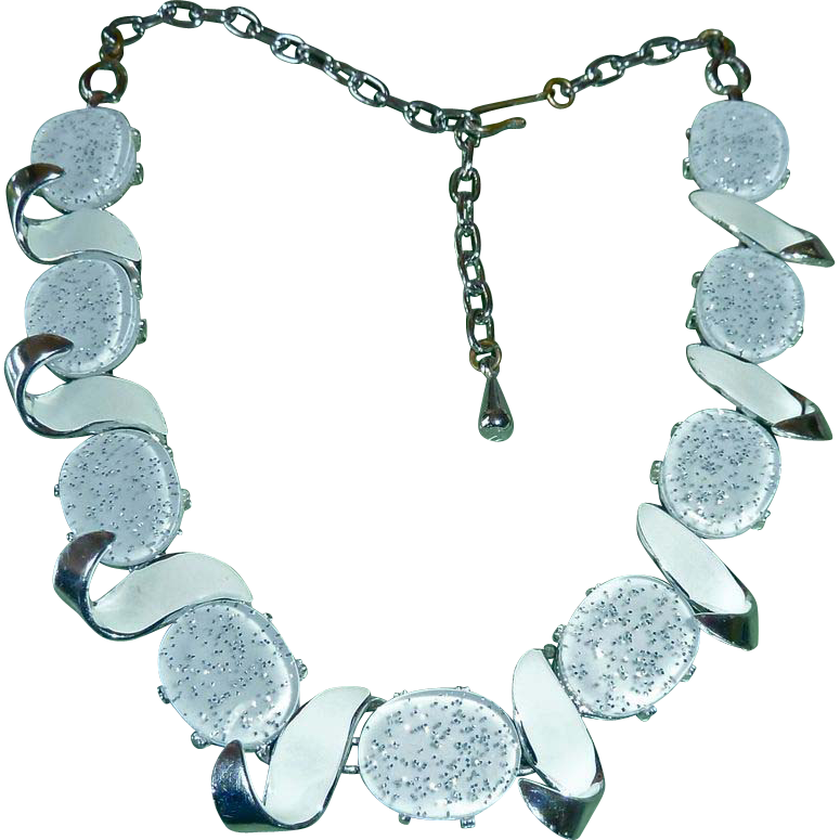 Silver & White Confetti Lucite Sculptural Necklace