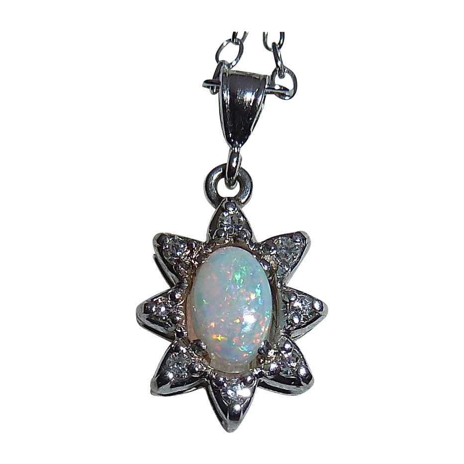 Opal & Diamond 14k White Gold Twinkling Star Pendant