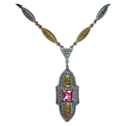 Art Deco Rhodium & Gilt Finish Pink Jewel Necklace