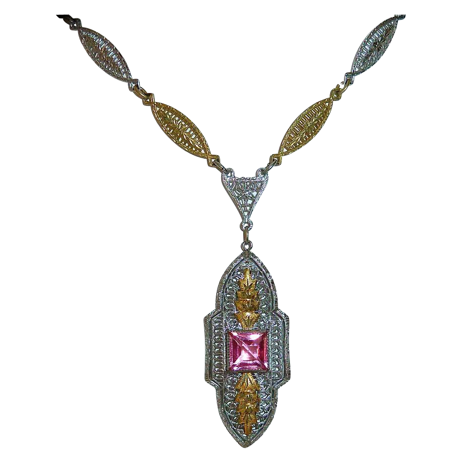 Art Deco Rhodium & Gilt Finish Pink Jewel Necklace