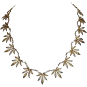 Fine Vermeil Sterling Filigree Flowery Leaf Necklace