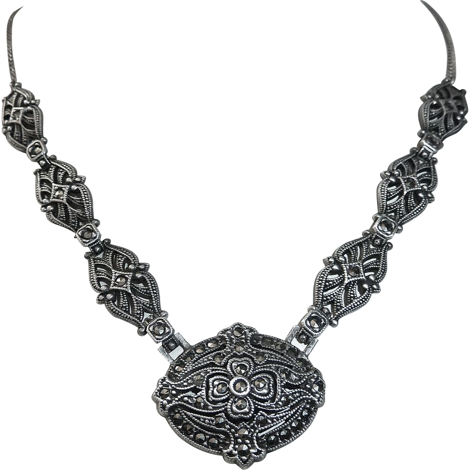 Art Deco Sterling & Marcasite Necklace