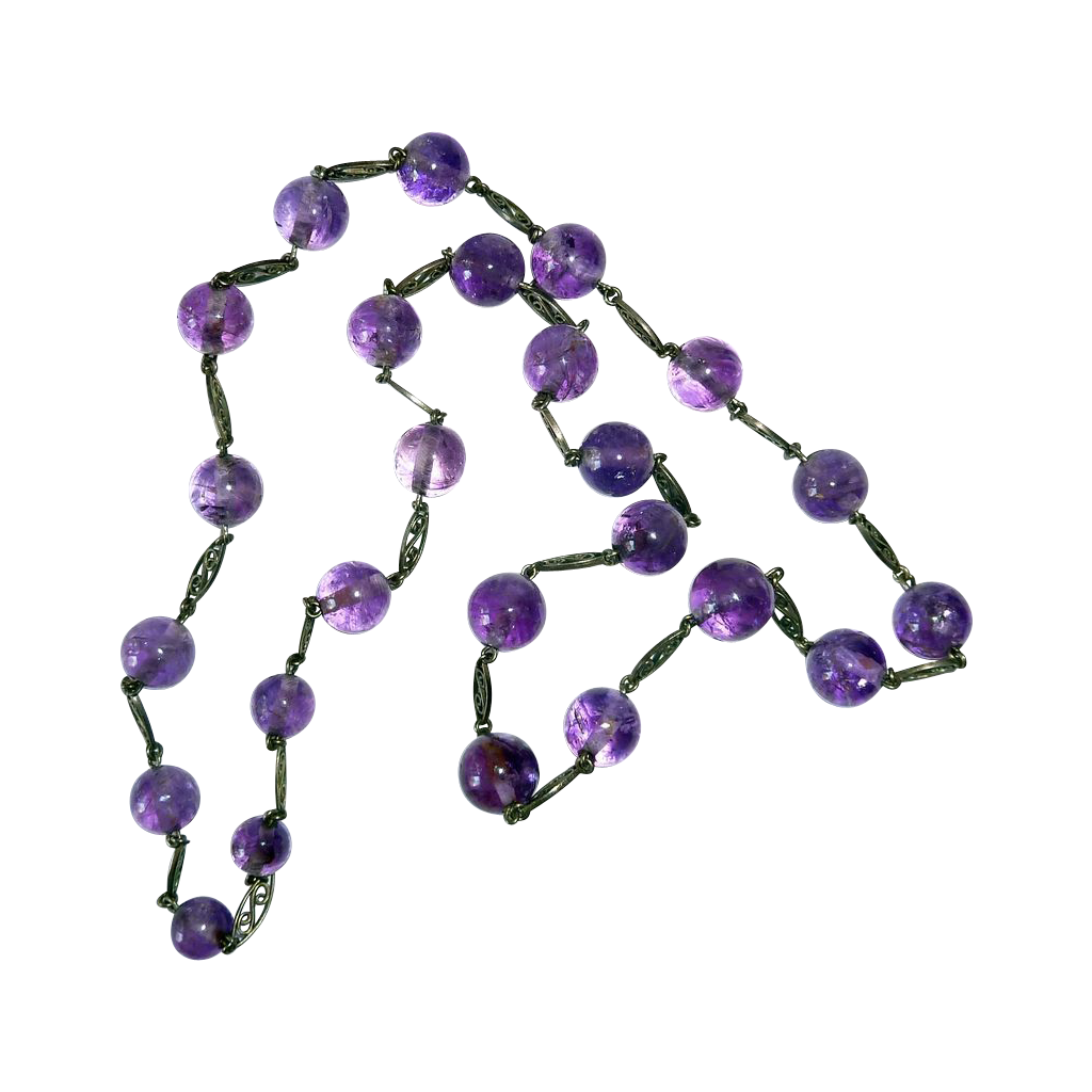 Amethyst Bead & Sterling Filigree Link Necklace