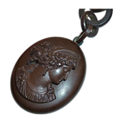 Victorian Gutta Percha Cameo Locket & Chain