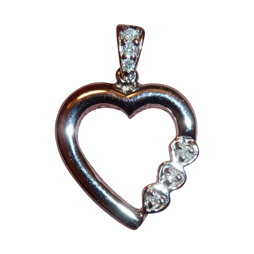 White Gold 10k Heart Pendant w Diamonds