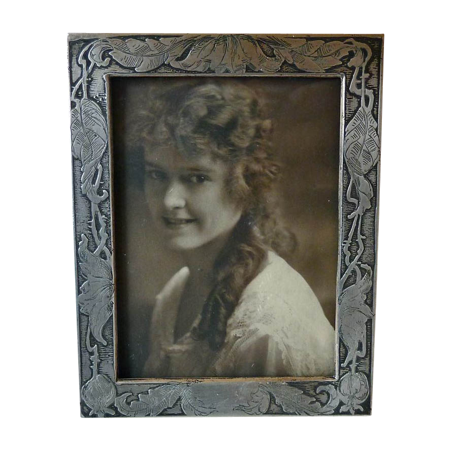 Unger Brothers Art Nouveau Etched & Engraved Sterling Picture Frame