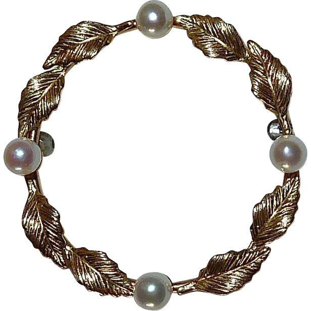 Krementz 14k Leaf Circle Pin w Cultured Pearls
