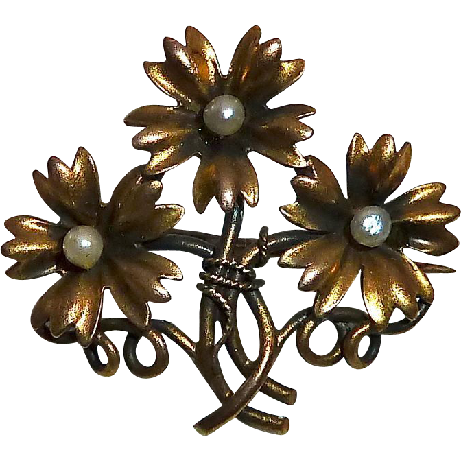 Antique Victorian 14k Three Daisy Bouquet Pin