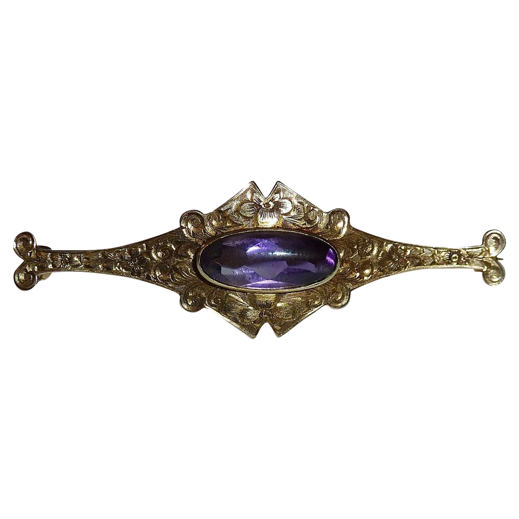 Antique 14k Victorian Engraved Bar Pin w Amethyst