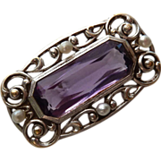 Antique 14k Amethyst & Seed Pearl Pin c1900