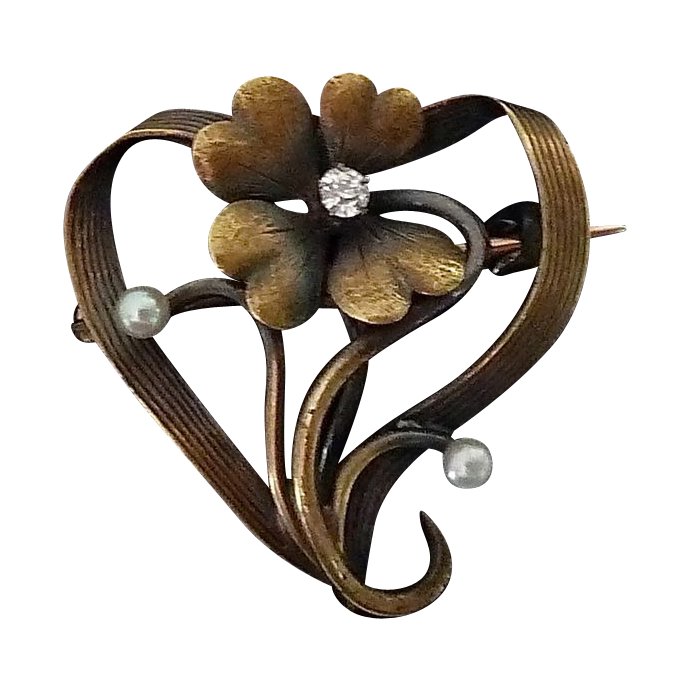 Antique 14k Art Nouveau Stylized Heart & Flower Watch Pin
