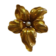 Antique 14k Art Nouveau Flower Pin w Pearl