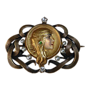 Art Nouveau 14K Gold Enamel Byzantine Woman Pin Diamonds